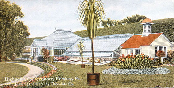 A conservatory was built adjacent to the Hershey's home, High Point, in 1909.